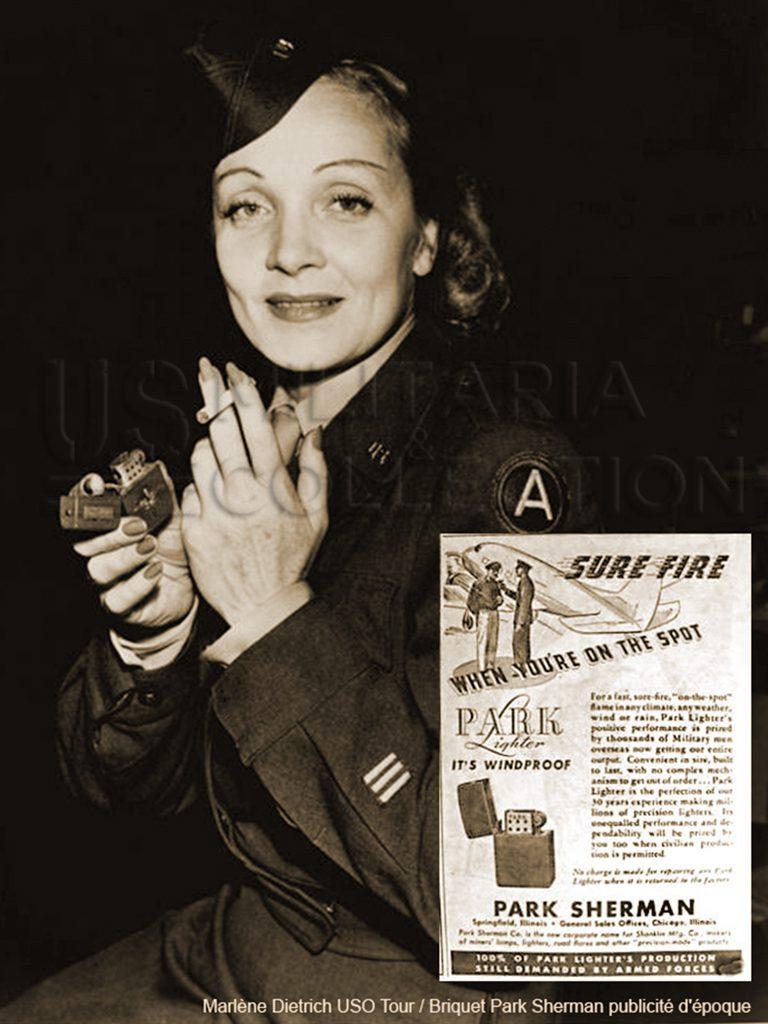 Marlène Dietrich et son briquet PARK SHERMAN lors de l'USO tour 1945