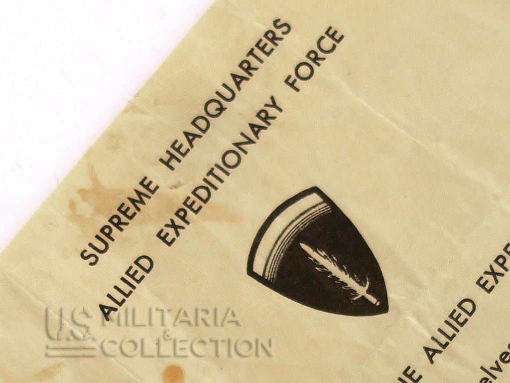 Lettre du Général Eisenhower, Commandant Suprême des Forces Expéditionnaires Alliées (SHAEF)
