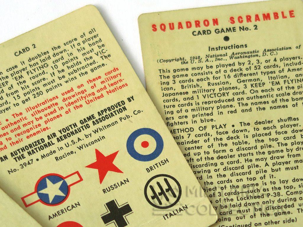 JEU DE CARTES US SQUADRON SCRAMBLE identification des avions