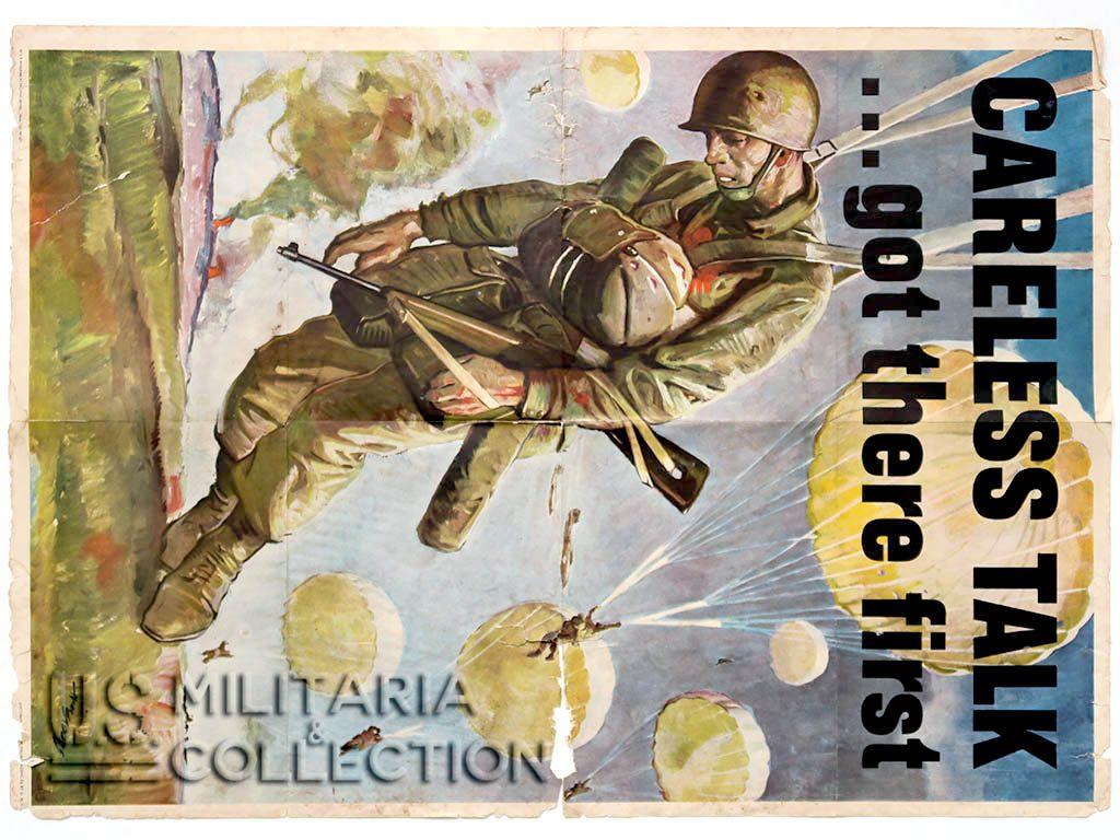 Affiche Parachutiste US Careless Talk...Got There First