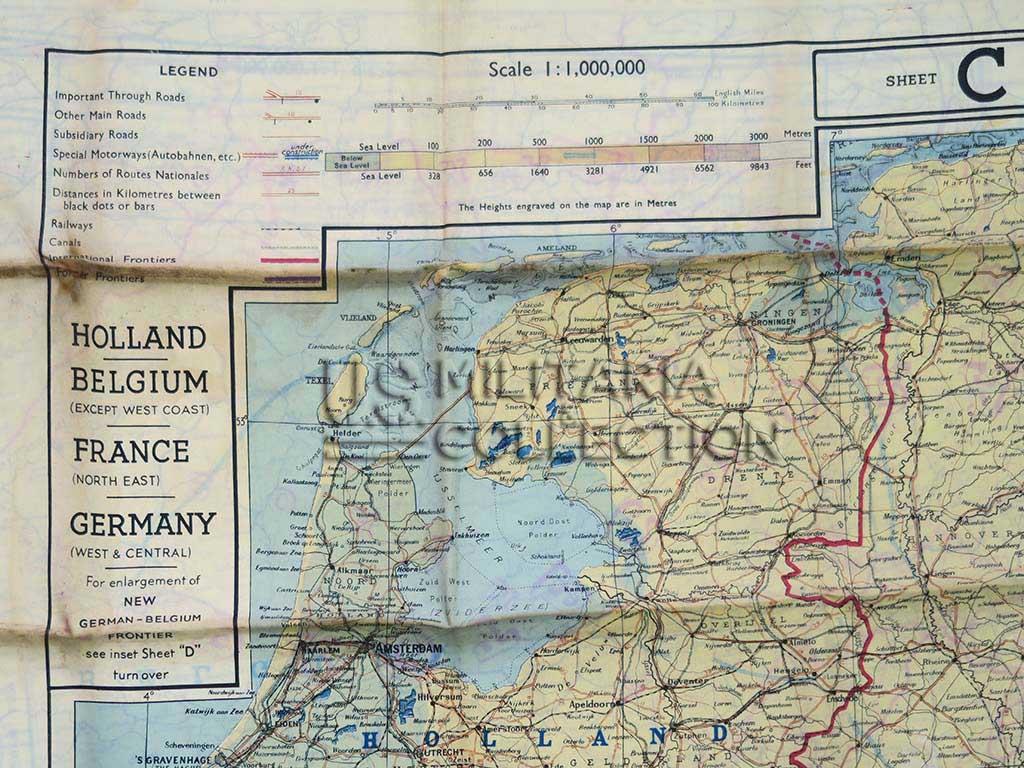 Carte Militaire Allemande Ww2.Carte D Evasion En Soie 1943 Pilote Raf Usaaf Hollande Belgique France Allemagne