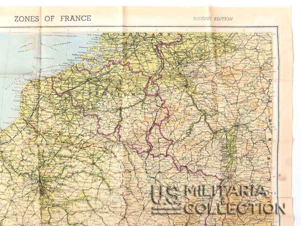 Carte évasion Zones Of France US 1944