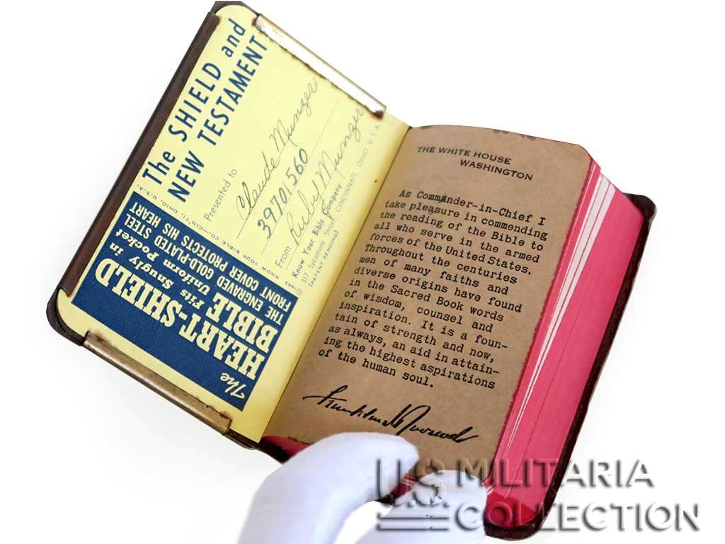 "Bible US Pare Balle Plaquée Or ""Heart-Shield Bible"""
