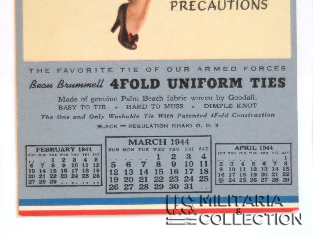 Calendrier de G.I. daté de 1944
