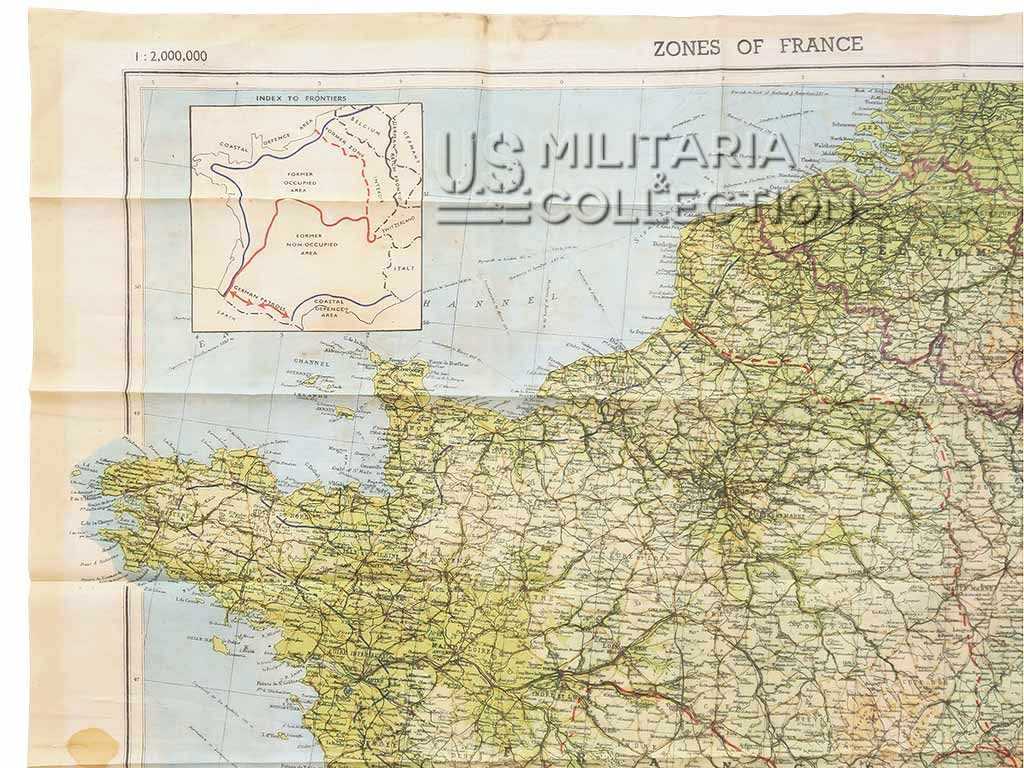 Carte Zones of France Parachutiste US ou carte d'évasion
