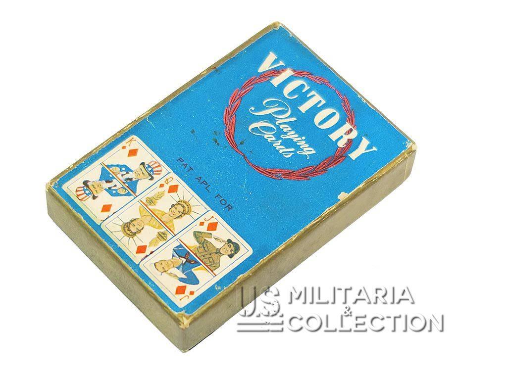 Jeu de cartes US ARRCO Victory, caricatures de Hitler et Mussolini.