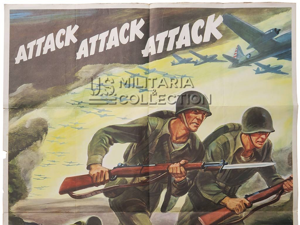 Affiche de propagande US Attack Attack Attack, Buy War Bonds 1942.