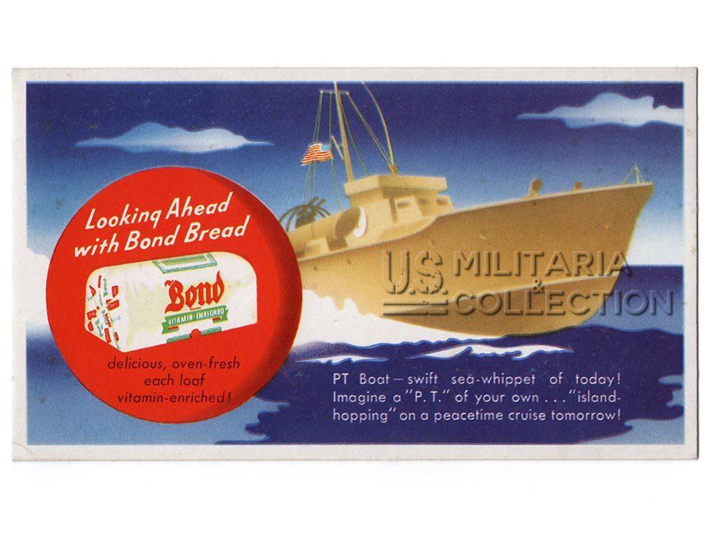 Vedette lance torpilles US, carton publicitaire patriotique.