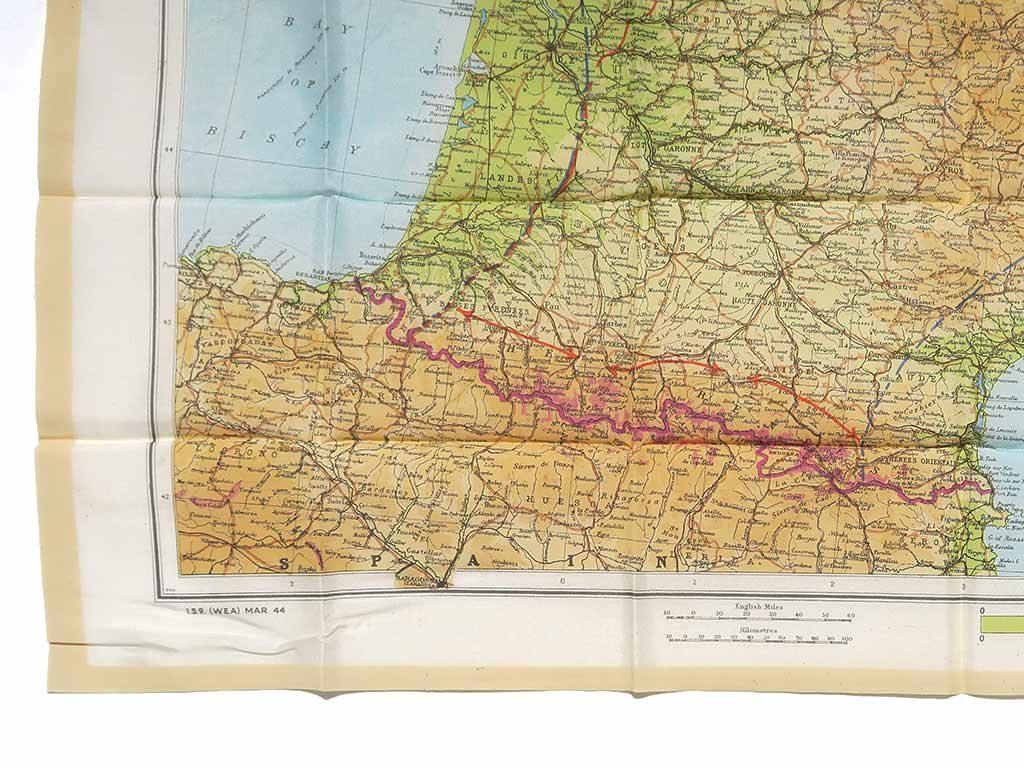Carte Zones of France Parachutiste US, carte d'évasion.