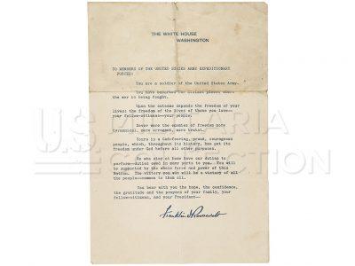 Lettre Franklin D. Roosevelt Opération Torch