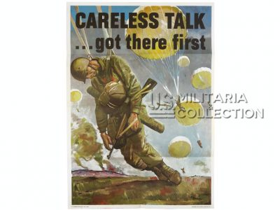 Affiche parachutiste Careless Talk... Got There First 1944