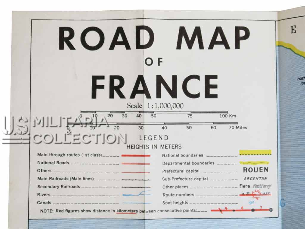 Carte routière US France, 1944