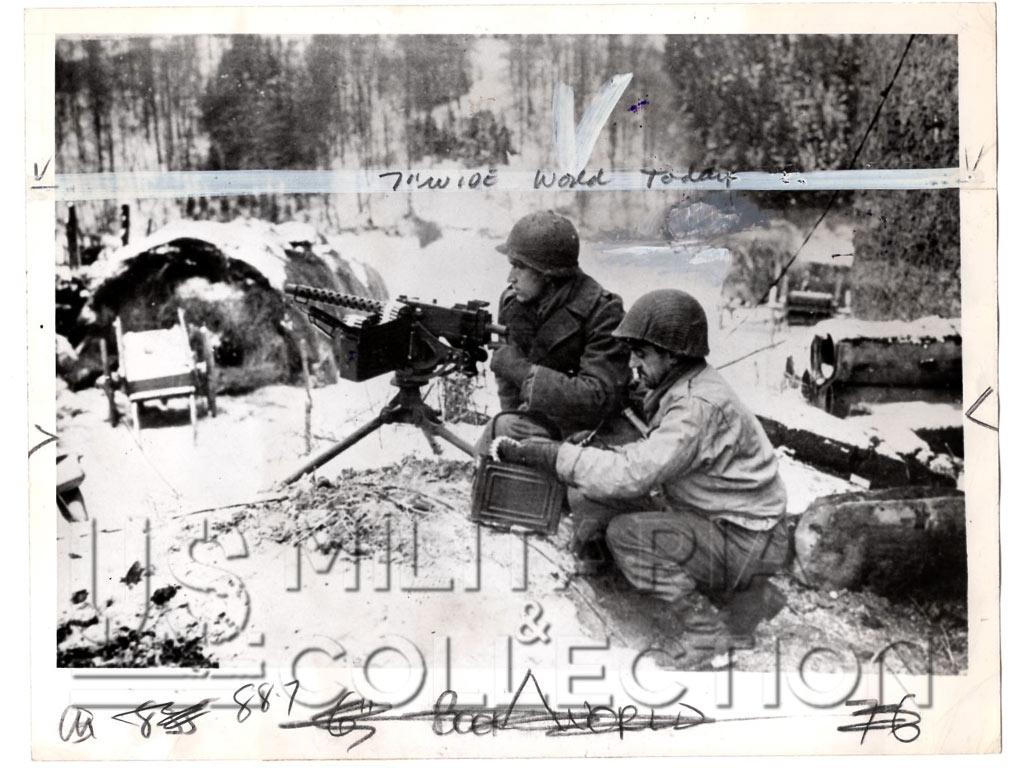 Bataille des Ardennes Photo. Mitrailleuse US
