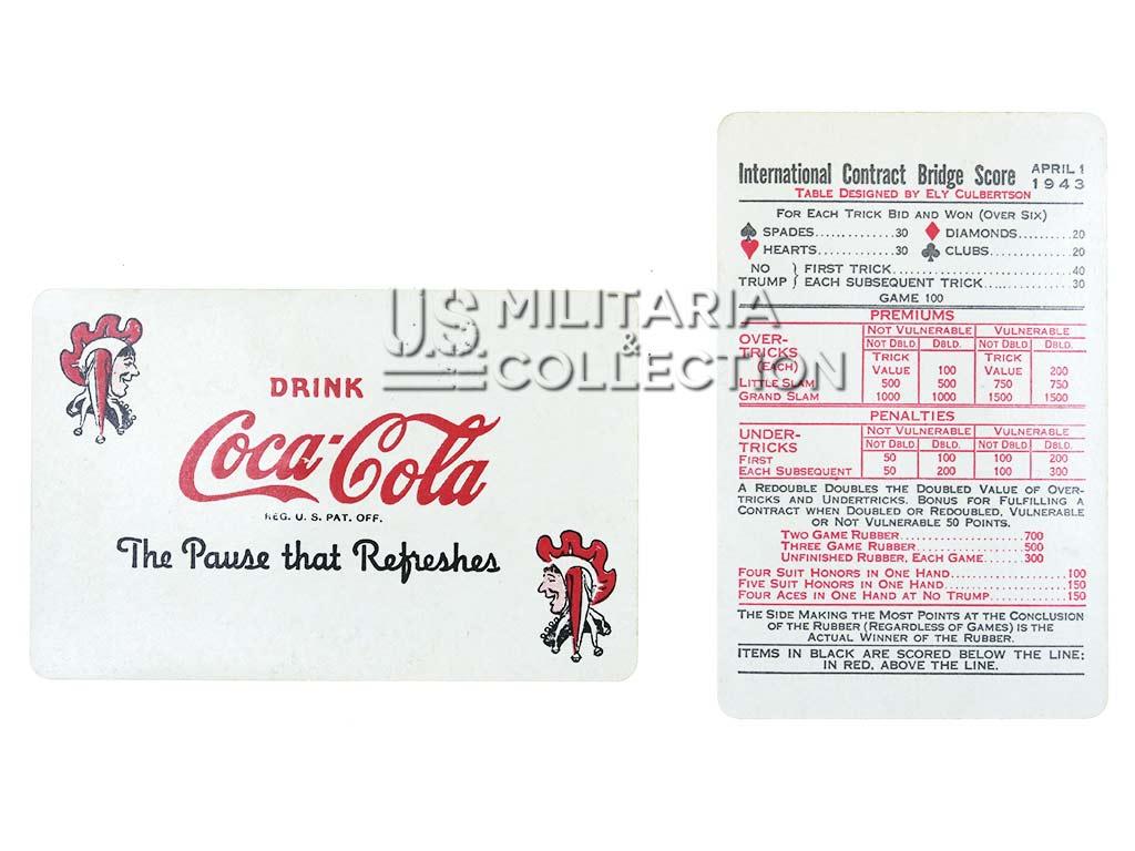 Cartes à jouer Coca Cola, 1943.