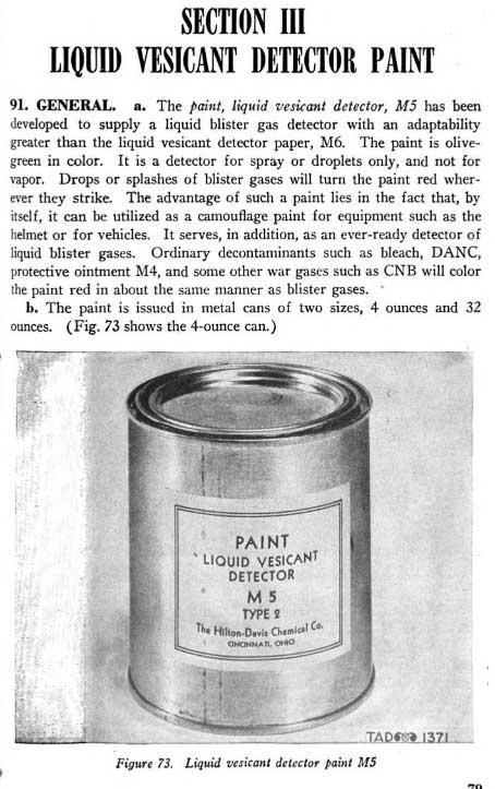Peinture détectrice de gaz vésicant, M5