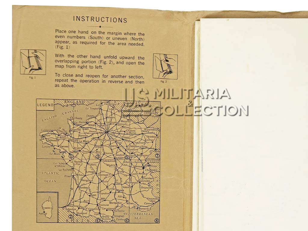 Carte US ARMY 1944 France.