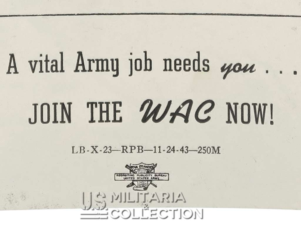 Brochure recrutement WAC, Women's Army Corps, 1943.