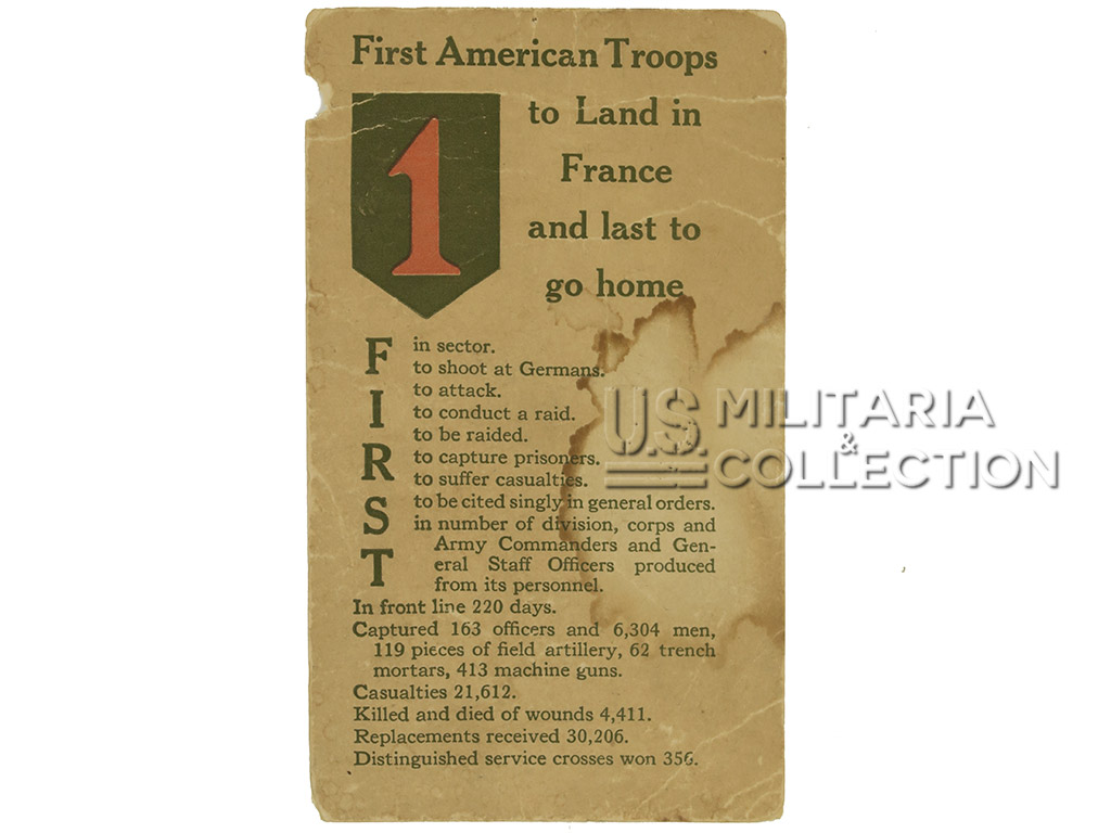 Carte postale 1re division d'infanterie US, WWI