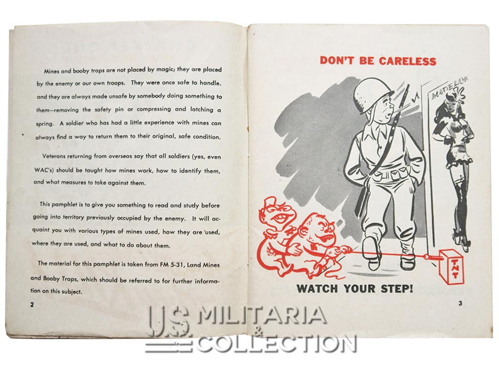 Livret US Army 1944, Don't Get Killed By Mines And Booby Traps.