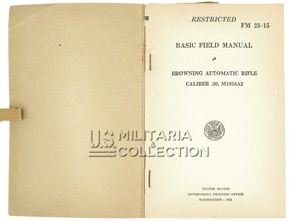 Manuel FM 23-15, FM BAR, 1943