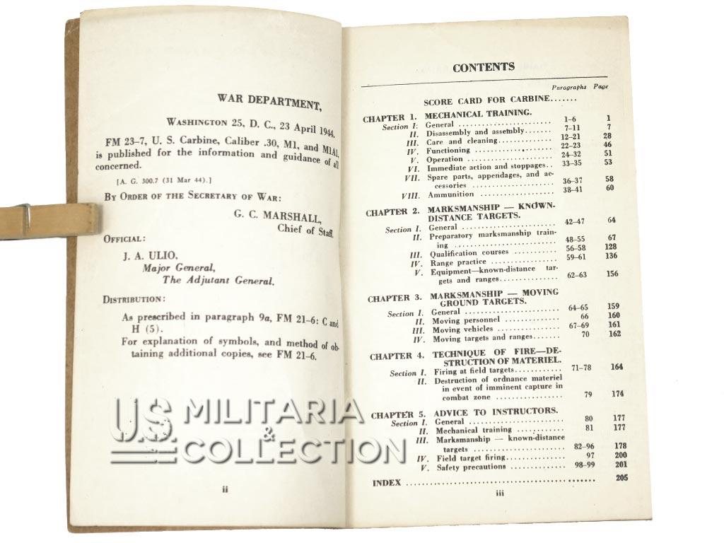 Manuel FM 23-7, Carabine USM1 USM1A1 1944