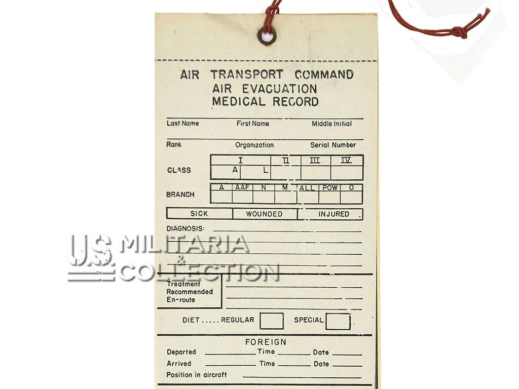 Etiquette évacuation de blessé par air, (Air évacuation medical record)