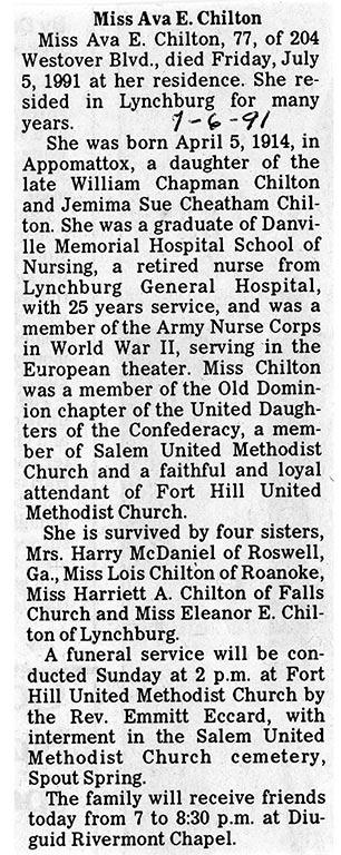 Briquet US Army Nurse Corps, Nominatif ETO