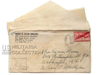 Lettre Sgt. Smith, Angleterre, 61st Troop Carrier Squadron, 1944