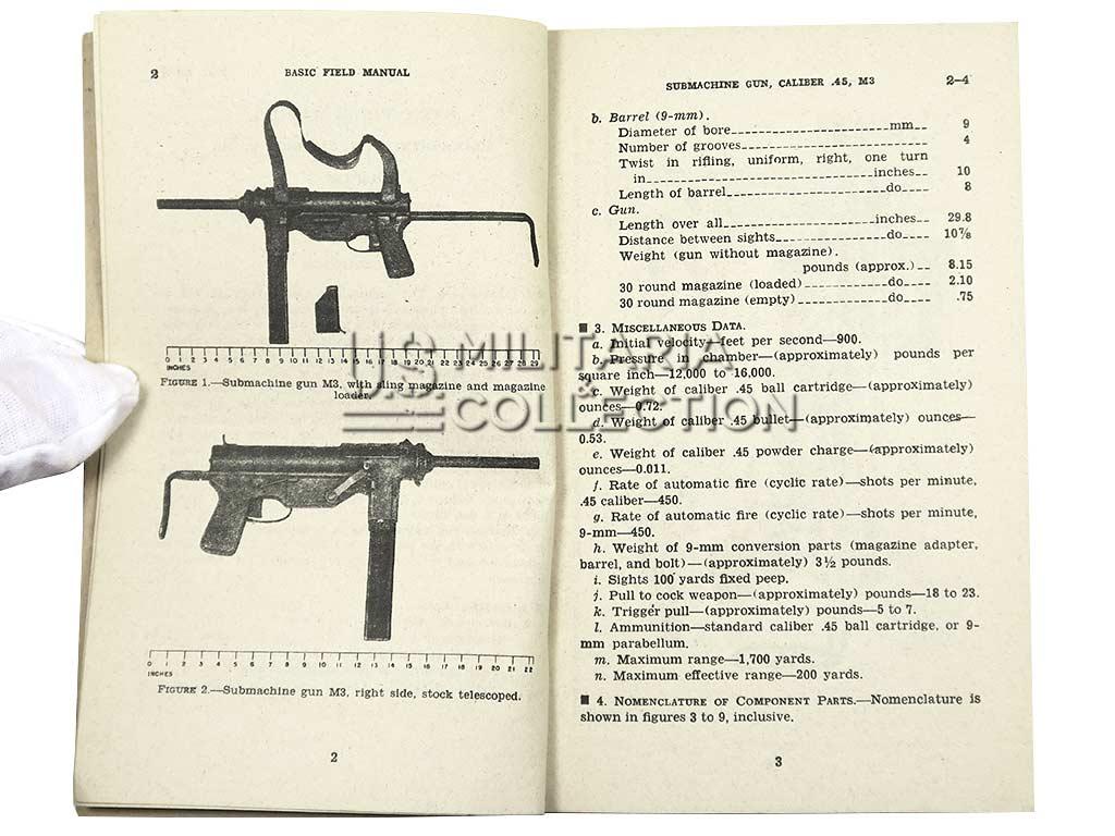 """Manuel Technique FM 23-41, Submachine Gun 45 Cal M3, """"Grease Gun"""""""