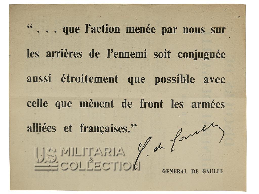 Tract 6 juin 1944, Normandie, général de Gaulle